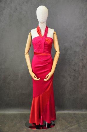 Платье в пол Алое атласное