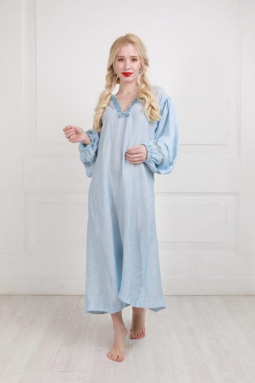 Русский народный костюм, крестьянский синий