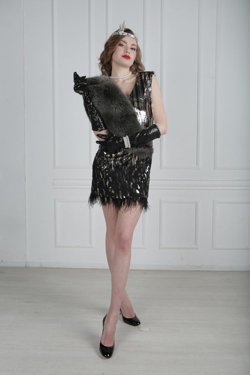 Платье 30-х годов в прокат для вечеринки в стиле Чикаго. Красивое вечернее платье с аксессуарами в стиле Чикаго в аренду 3000 руб.