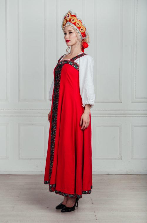 Русский народный костюм напрокат. Красный сарафан