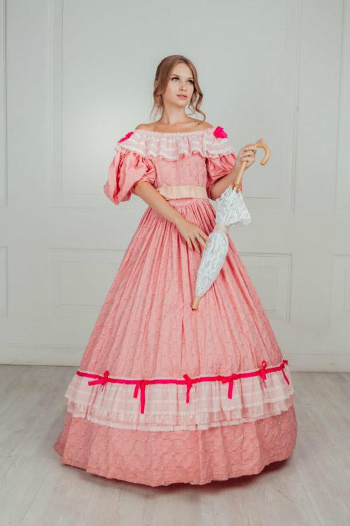 Бальное платье середины 19 века Розовое