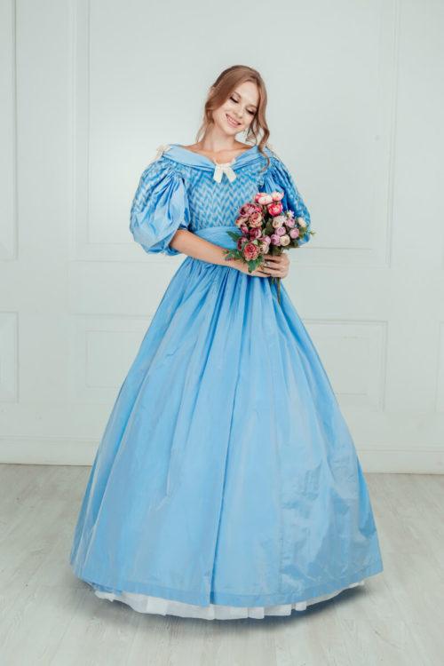 Дневное платье 19 века Голубое