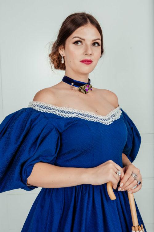 Платье 19 века бальное Синее