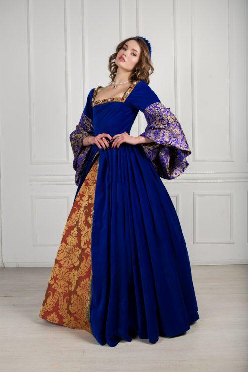 Платье синее Tudores (16 века Франция)