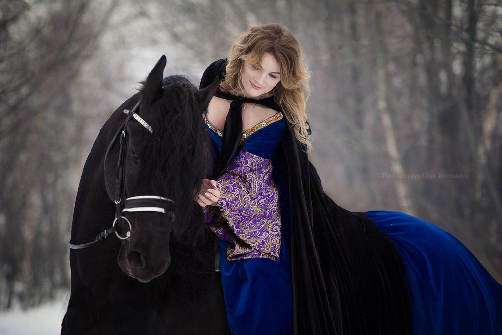 фотосессия с лошадью зимой