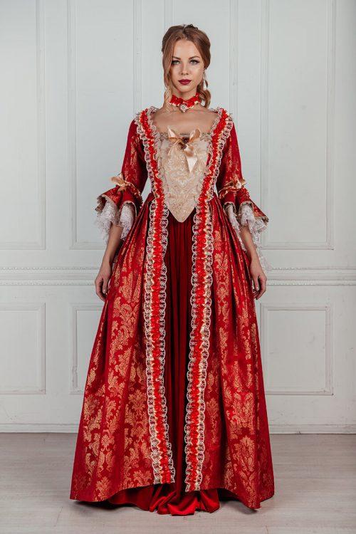 Красное платье 18 века аренда