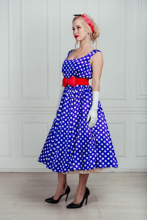 стиляги платье в горошек
