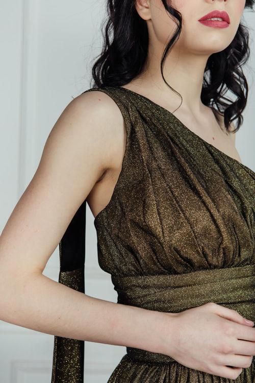 бронзовое платье в пол прокат