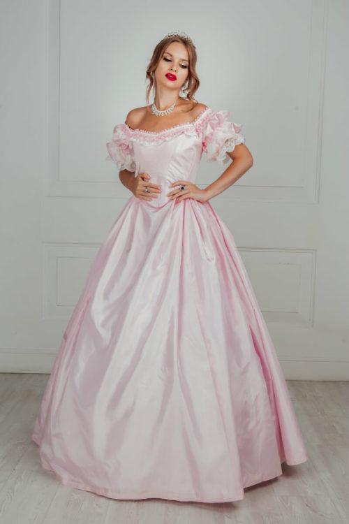 Бальное платье 19 века розовое