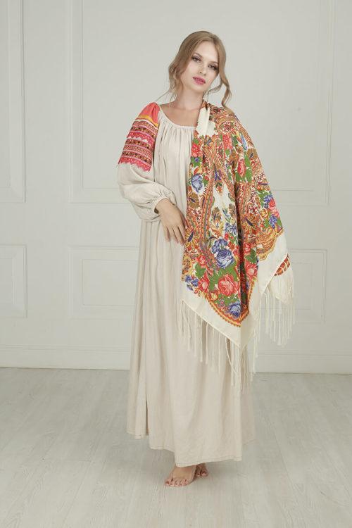 русская льняная женская рубаха