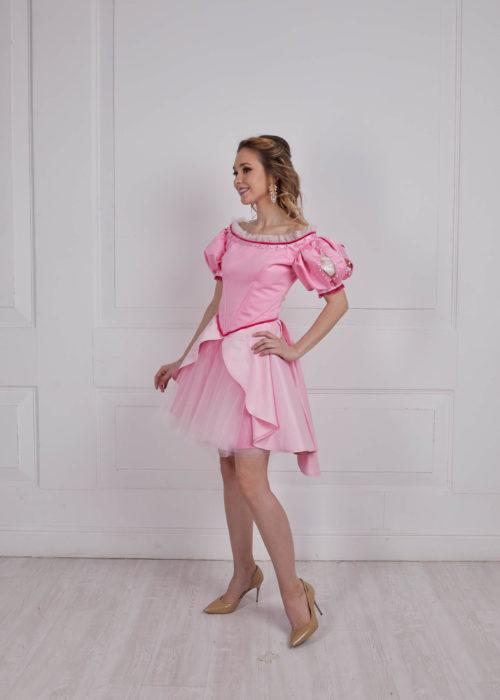Ариэль розовое платье короткое прокат