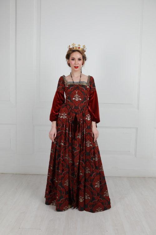 Чёрно-Бордовое платье TUDORE
