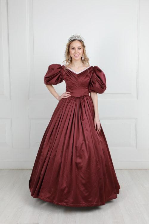 Платье 19 века сливовое