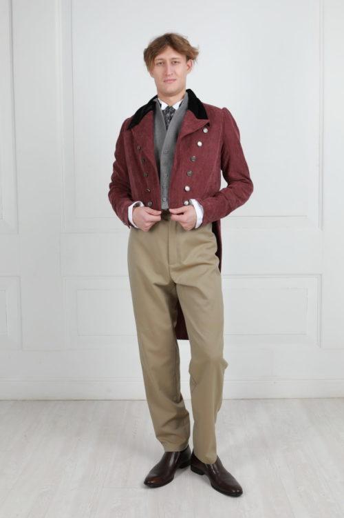 Мужской костюм 19 века бордовый