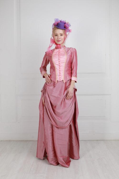 платье с тюрнюром розовое