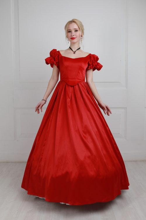 Красное бальное платье 19 век