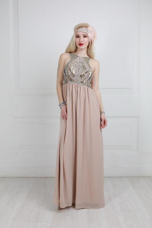 Платье в пол цвета пудры расшитое бисером и паетками