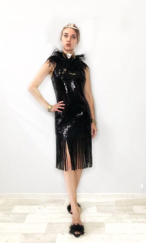 коктельное платье чёрные пайетки