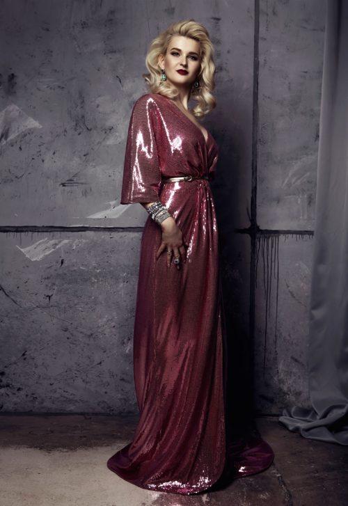 Розовое платье халат в пол прокат