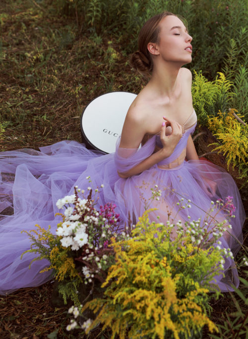 Нежно сиреневое платье из фатина прокат