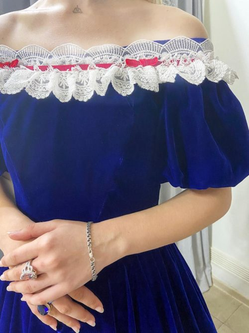 Бархатное платье синее 19 век